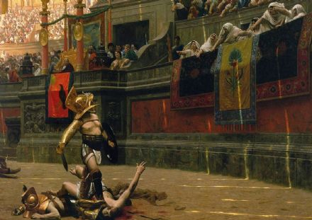 Gerome, Jean Leon: Gladiator in the Arena/Pollice Verso (Thumbs Down). Fine Art Print.  (00616)